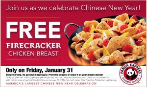 free firecracker chicken breast at panda express