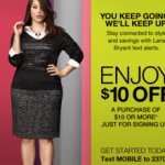 Lane Bryant $10 off $10 Coupon Code
