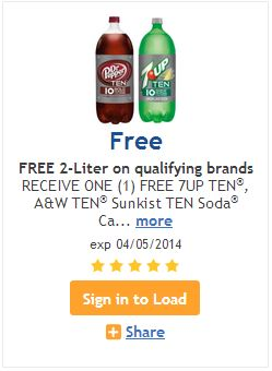 FREE Dr. Pepper or 7-Up TEN 2-Liter