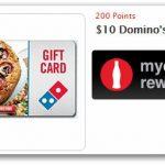 MyCokeRewards: Free $10 Domino's Gift Card